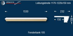 Komplette Fensterbank Dahn 105 1170-1220-150