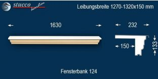 Komplette Fensterbank Altötting 124 1270-1320-150