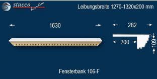 Komplette Fensterbank Eisenach 106F 1270-1320-200