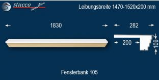 Komplette Fensterbank Lübeck 105 1470-1520-200