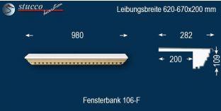 Komplette Fensterbank Senden 106F 620-670-200