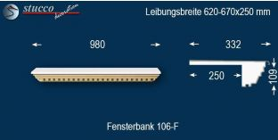 Komplette Fensterbank Worms 106F 620-670-250