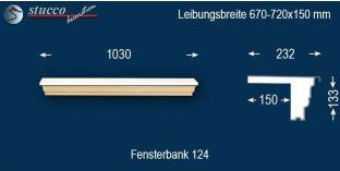 Komplette Fensterbank Thüringen 124 670-720-150