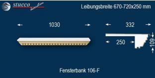 Komplette Fensterbank Horstmal 106F 670-720-250