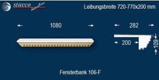 Komplette Fensterbank Heubach 106F 720-770-200