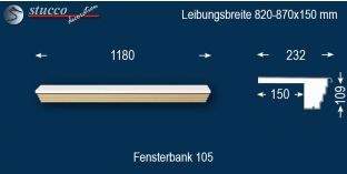 Komplette Fensterbank Delbrück 105 820-870-150
