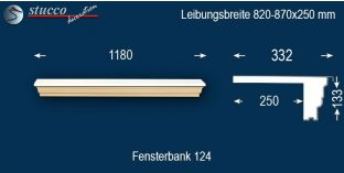 Komplette Fensterbank Moosburg 124 820-870-250