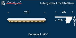 Komplette Fensterbank Aura 106F 870-920-200