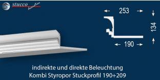 Stuckleiste für direkte und indirekte Deckenbeleuchtung Dortmund 190+209