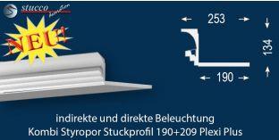 Stuckleiste für direkte und indirekte Deckenbeleuchtung Dortmund 190+209 PLEXI PLUS