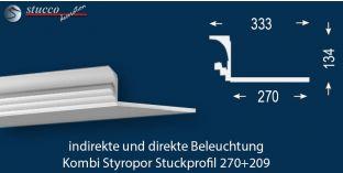 Stuckleiste für direkte und indirekte Deckenbeleuchtung Dortmund 270+209