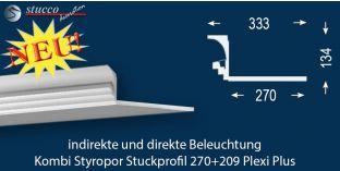 Stuckleiste für direkte und indirekte Deckenbeleuchtung Dortmund 270+209 PLEXI PLUS