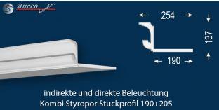 Stuckleiste für direkte und indirekte Deckenbeleuchtung München 190+205
