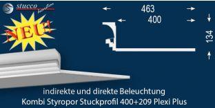 Stuckprofil für direkte und indirekte Beleuchtung Dortmund 400+209 PLEXI PLUS