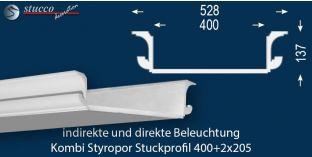 LED Lichtleiste für direkte und indirekte Deckenbeleuchtung München 400+2x205