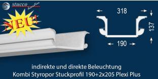LED Deckenleisten 'München 190+2x205 PLEXI PLUS'