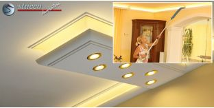 Stuckleiste für direkte und indirekte Deckenbeleuchtung München 270+2x205 PLEXI PLUS