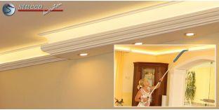 Kombi Stuckprofil 'Essen 270+202 PLEXI PLUS' zur Deckenbeleuchtung LED