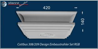 Cottbus 308/209 Einbaustrahler Set mit Stuck und LEDs - mehrfarbig RGB