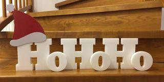 Adventsdeko Styropor Buchstaben - Weihnachtsmannruf 'HoHoHo'