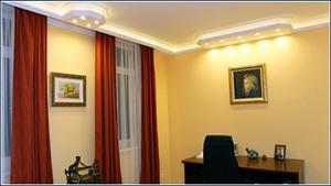 Büro Beleuchtung mit LEDs und Styroporstuck