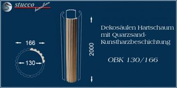 Kanneliertes Säulenschaft-Viertel OB 130/166 mit Beschichtung