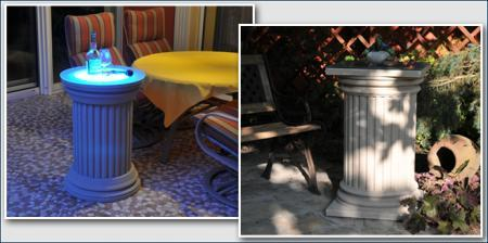 Beschichtete Säulen mit und ohne LED Beleuchtung