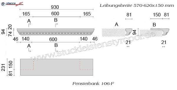 Beispielzeichnung mit Maßen für die kompletten Fensterbänke
