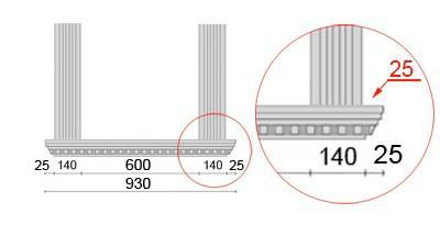 Bemaßte Zeichnung für seitlichen Überstand der Fensterbank von 46 mm