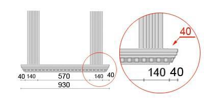 Bemaßte Zeichnung für seitlichen Überstand der Fensterbank von 61 mm