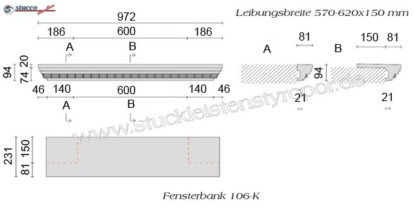 Beispielzeichnung mit Maßen für Alu Fensterbänke mit Stuckmotiv 106-K
