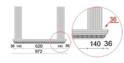 Bemaßte Zeichnung für seitlichen Überstand der Alu Fensterbank von 36 mm