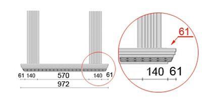Bemaßte Zeichnung für seitlichen Überstand der Alu Fensterbank von 61 mm