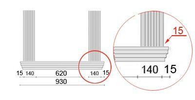 Bemaßte Zeichnung für seitlichen Überstand der Fensterbank von 15 mm