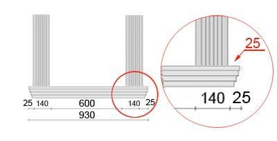 Bemaßte Zeichnung für seitlichen Überstand der Fensterbank von 25 mm