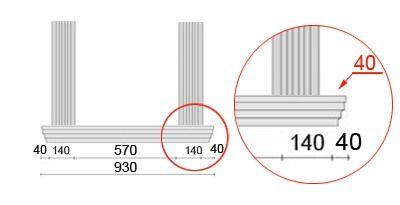Bemaßte Zeichnung für seitlichen Überstand der Fensterbank von 40 mm