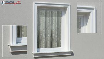 Fensterverzierung mit beschichteter Zierleiste Dresden 121 und Alu Fensterbank 124