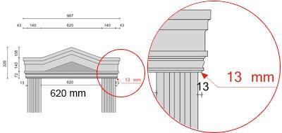 Bemaßte Zeichnung für seitlichen Überstand der Fenstergiebel Dreieckbekrönung von 13 mm