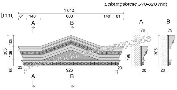 Beispielzeichnung mit Maßen für Fenstergiebel Dreieckbekrönung Stuckprofil 107K-104K