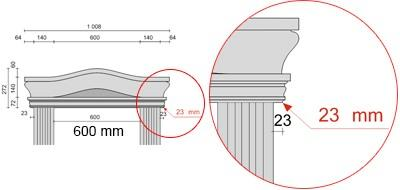 Bemaßte Zeichnung für seitlichen Überstand der Bogengiebel von 23 mm