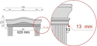 Bemaßte Zeichnung für seitlichen Überstand der Bogengiebel von 13 mm