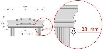 Bemaßte Zeichnung für seitlichen Überstand des Tympanons von 38 mm