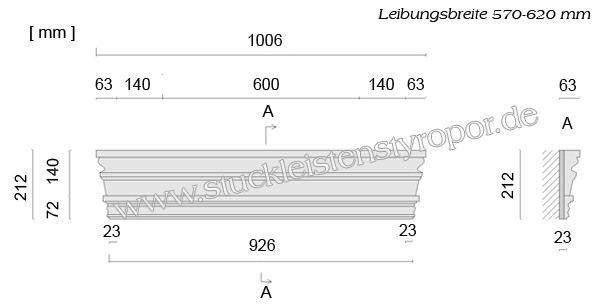 Beispielzeichnung mit Maßen für gerade Fenstergiebel