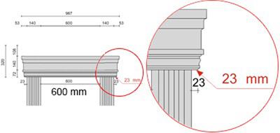 Bemaßte Zeichnung für seitlichen Überstand der Fenstergiebel Dreieckbekrönung von 23 mm