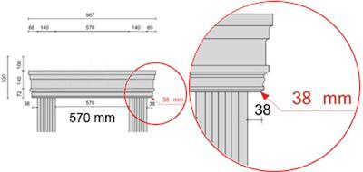 Bemaßte Zeichnung für seitlichen Überstand der Dreieckbekrönung Fenstergiebel von 38 mm