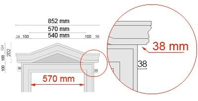 Bemaßte Zeichnung für seitlichen Überstand des Tympanons an Laibungsverkleidung von 38 mm