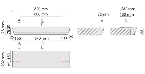 Beispielzeichnung mit Maßen für die kompletten Fensterbänke 105 passend zu den Laibungsverkleidungsprofilen