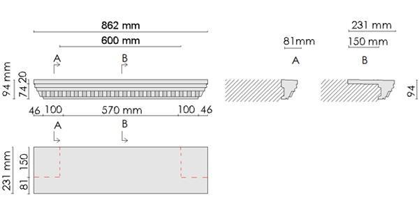 Beispielzeichnung mit Maßen für die kompletten Fensterbänke 106 passend zu den Laibungsverkleidungsprofilen