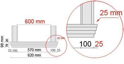 Bemaßte Zeichnung für seitlichen Überstand der Fensterbank 105 an Laibungsverkleidung von 25 mm