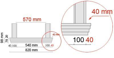 Bemaßte Zeichnung für seitlichen Überstand der Fensterbank 105 an Laibungsverkleidung von 40 mm